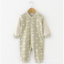 Algodón de algodón Jacquard Baby manga larga Romper