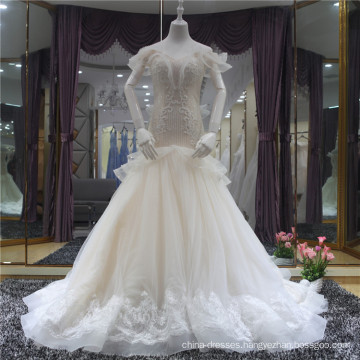 2018 Elegant V-neck Lace Up mermaid Wedding Dress Bridal Gown with heavy beaded