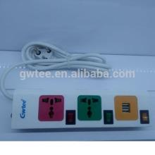 Neueste 3-Wege-Steckdose universelle USB-Steckdose mit Überlastschutz