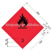 Harzard class sticker inflammable liquid label
