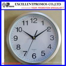 Logo Printing 10 Inch Round Plastic Wall Clock Logo (EP-Item3-silver)