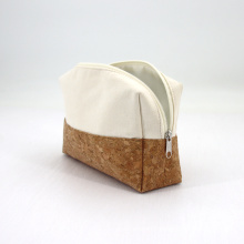 New style Customized Logo Natural Cork and Cotton Canvas Zipper Cosmetic Pouch