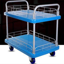 Chariot à carreaux en plastique de 150kg à double pont de haute qualité avec clôture