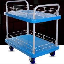 Carrinho de carrinho de plástico de 200kg de plataforma dupla para biblioteca