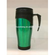 vend en gros de tasse à café en acier inoxydable en céramique, double tasse mur café, tasse de café de pistolet