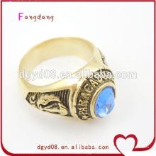 Aço inoxidável anel de caveira de ouro atacado