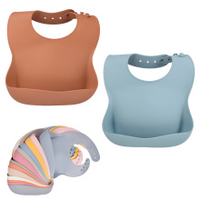 Pastel Plants Soft Washable Food Grade Easily  Clean Baby Plate Kit Collar Silicone Bib