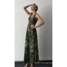 Hochwertiges Art und Weise V-Ansatz Drucken-Dame-Sleeveless beiläufiges Kleid