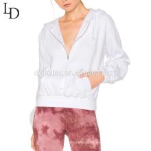 Chaqueta de manga larga con capucha de alta calidad de la moda de las mujeres