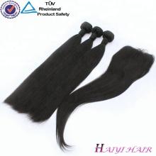 Alibaba Gros Remy Malaisie Cheveux Naturel Noir Soie Droite 3 Bundles Cheveux Avec Dentelle Fermeture