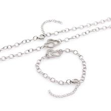 Hochwertiges Edelstahl Silber Armband Halskette Schmuck-Set