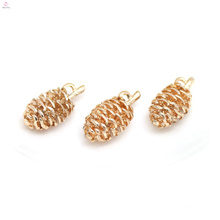 Gold Plated Copper Necklace Pendant DIY Accessory Pinecone Charms Jewelry