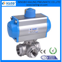 3 way small mini aluminum ball valve pneumatic actuator, DN25 KLQD brand