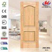 JHK-M01 Decorative Texture Design 2 Panels 4mm Thickness Natural Brich Veneer Door Skin HDF