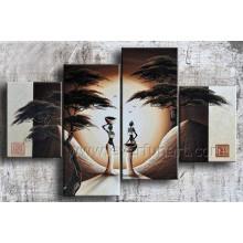 Pintura al óleo africana pintada a mano de la mujer africana del arte 100% (AR-146)