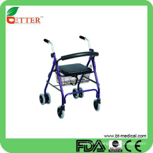 Durable rollator walker foldable with seat shopping basket cart