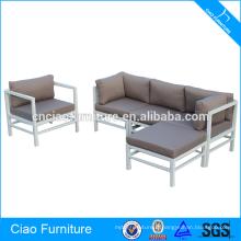 Sofa d'angle de cadre en aluminium blanc de meubles de salon