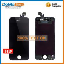Precio por mayor alta calidad 100% prueba de lcd, lcd touch panel repuestos para iphone 5