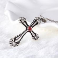 unique black silver thai silver cross pendant with garnet zircon