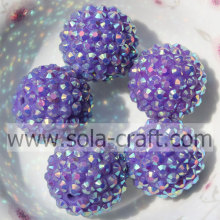 Wholesale Purple AB Color Resin Rhinestone 20*22MM Beads For Jewelry