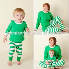 Customizedized 100% Baumwolle Pyjamas grün und weiß Farbe Weihnachten Pyjamas Kinder Weihnachten Pyjamas in grün und weiß