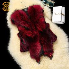 Genuino Raccoon con capucha de piel de conejo de las mujeres de moda Chalecos chalecos