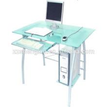 Mesa de computador de vidro para casa com tubo de aço
