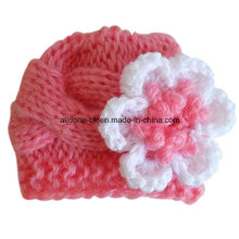 Hand Knitted Newborn Baby Winter Beanie Hat with Flower