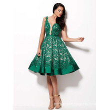 Deep Neck Green Knee Length Prom Gown Cocktail Dress