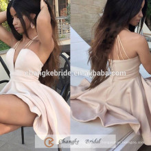 New Arrival Cocktail Dress Short Peach Satin Sexy Women Party Dress