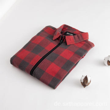 Red Check Zip Langarm-Winterhemd für Herren