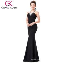Grace Karin Floor Length Beads Formal Gown Black Bodycon Long Evening Dresses CL6157