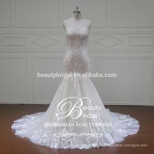 Vestido de casamento sem alças de moda sereia 2017 vestido de noiva elegante