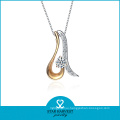 Two-Tone Plating Necklace Fashion Jewelry with CZ (N-0257)