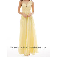Long Gown No Sleeves Lace Silk Chiffon Dress Evening Dress