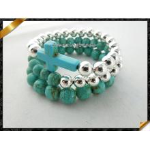 Turquosie Kreuz Armbänder Silber Runde Perlen Armbänder Set (CB064)