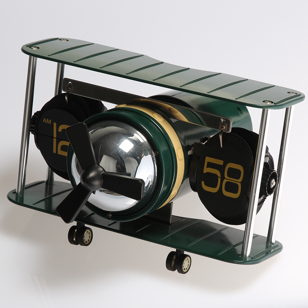 Green Fighter Plane Flip Clock for Decor