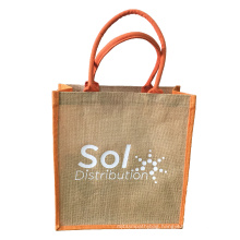 Dyed linen shopping jute bags with padded  handles and custom logo printed