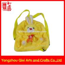 Buena calidad niños personalizados mochila mochila de felpa cabeza de conejo de los niños de la escuela