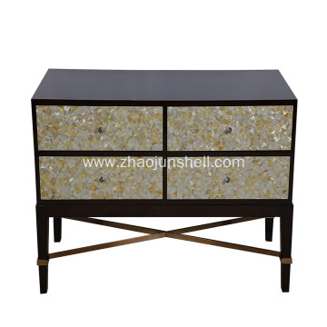 CANOSA 2016 Golden mother of pearl inlaid wood Storage Cabinet living room furniture