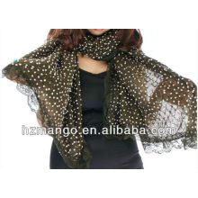 Fashion winter lace trim scarf