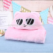 Toallas de baño encapuchadas calientes de la historieta natural suave rosada del bebé del gato rosado