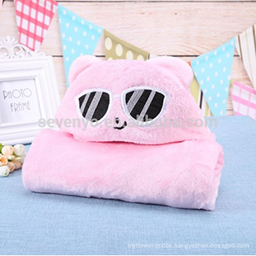 Pink Cat Newborn Baby Soft Natural Cartoon Warm Hooded Bath Towels