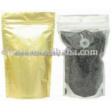 Poche à café en aluminium avec fermeture à glissière / paquet en aluminium avec fenêtre transparente / sachets en aluminium