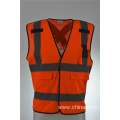 Industrial Orange Safety Vest with Front Zipper Knitted