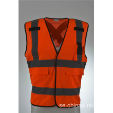 Industriell Orange Safety Vest med Front Zipper Stickad