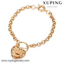74554-Xuping pulsera en forma de corazón popular amor oro 18K con alta calidad