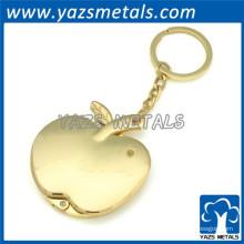 3D яблоко золотой брелок