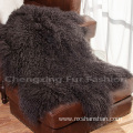 Natural Colour Real Mongolian Lamb Fur Blanket