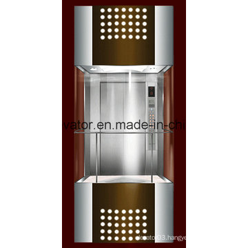 Square Shape Panoramic Elevator with 3 Sides Glass